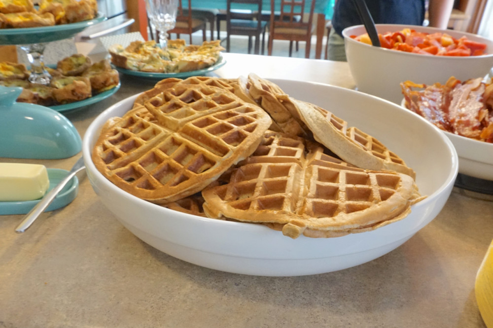 Nothing says love like a platter full of hot waffles